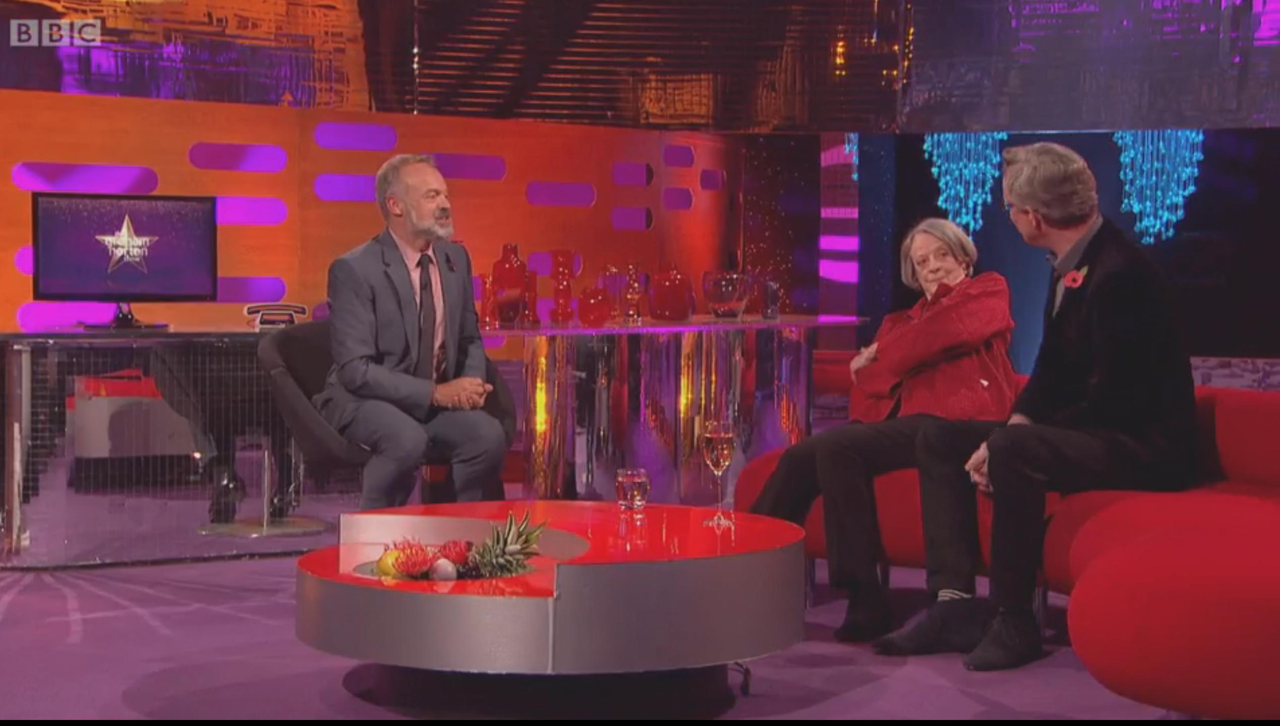 Dame Maggie Smith hos Graham Norton. Foto: BBC