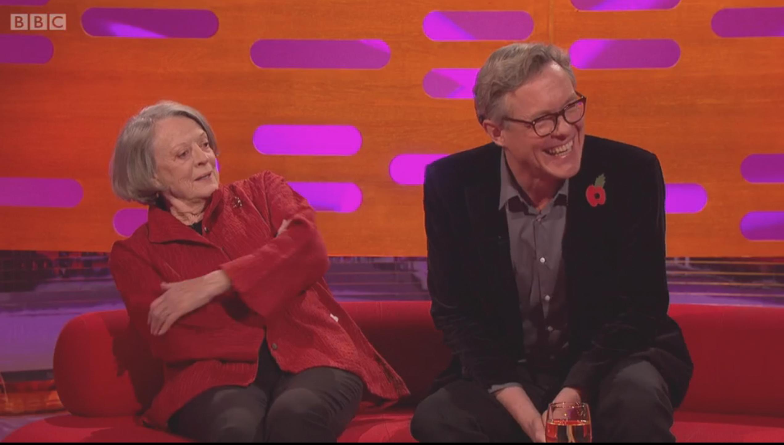 "Maggie Smith spelar mot Alex Jennings i ""Tje lady in the van"". Foto: BBC"
