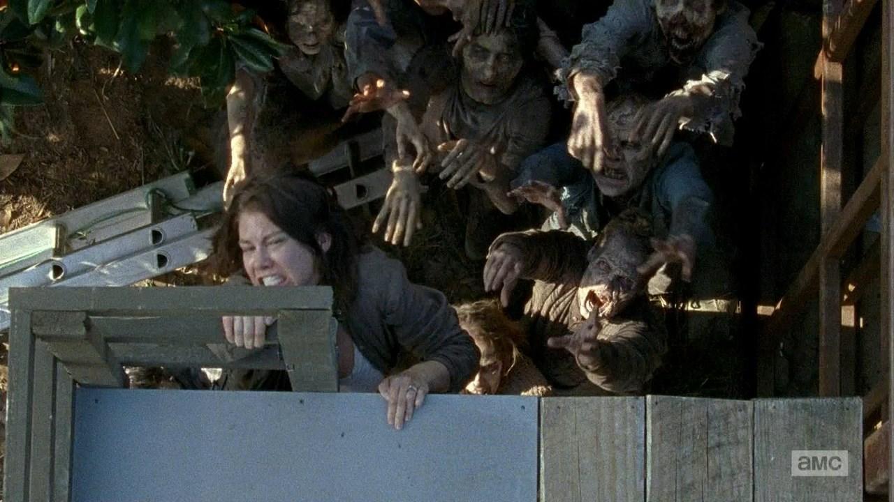 Gravida Maggie tvingas klättra för sitt liv.