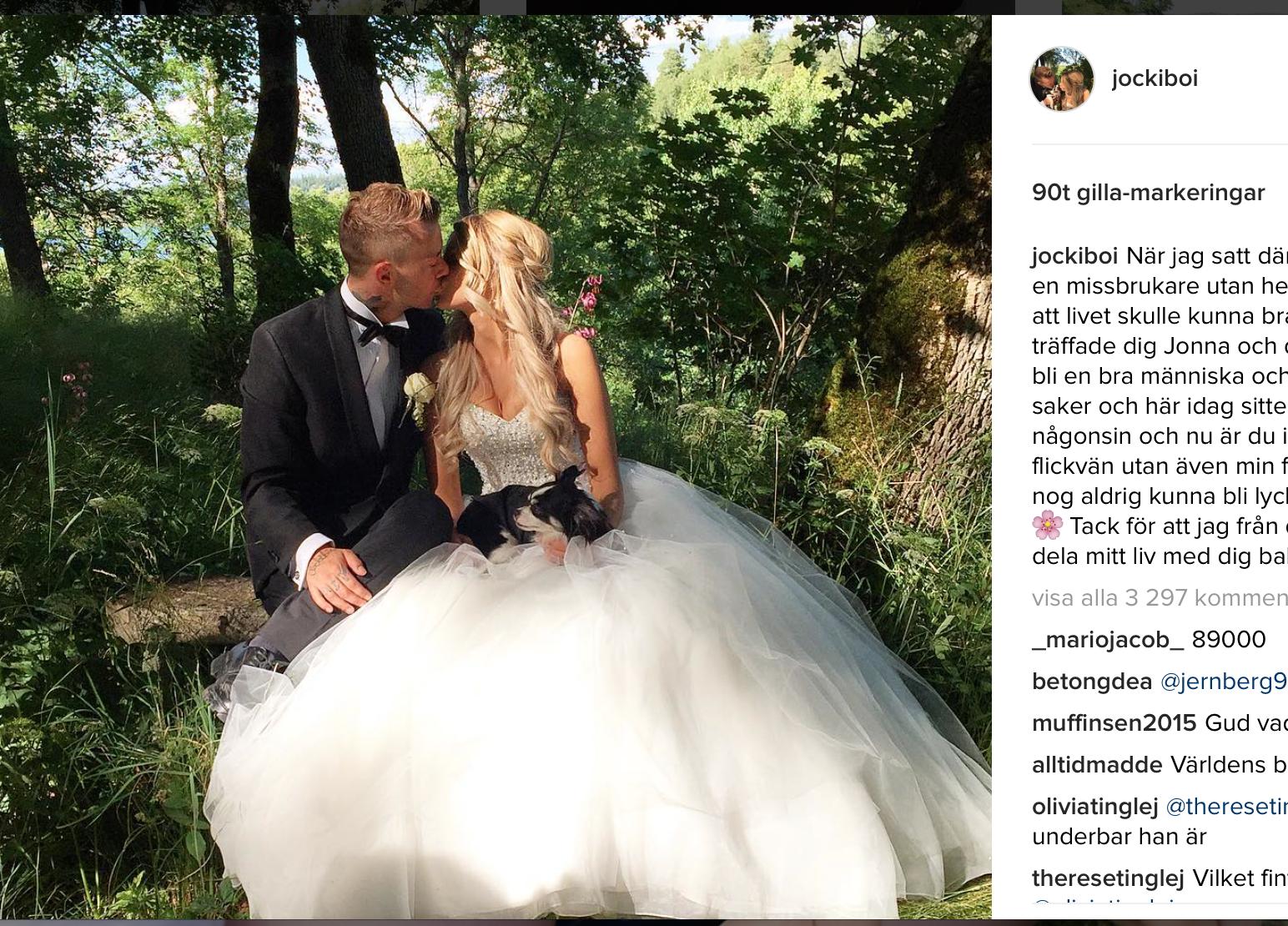 Här gifter sig Jockiboi och Jonna. Bild: Jockibois instagram.