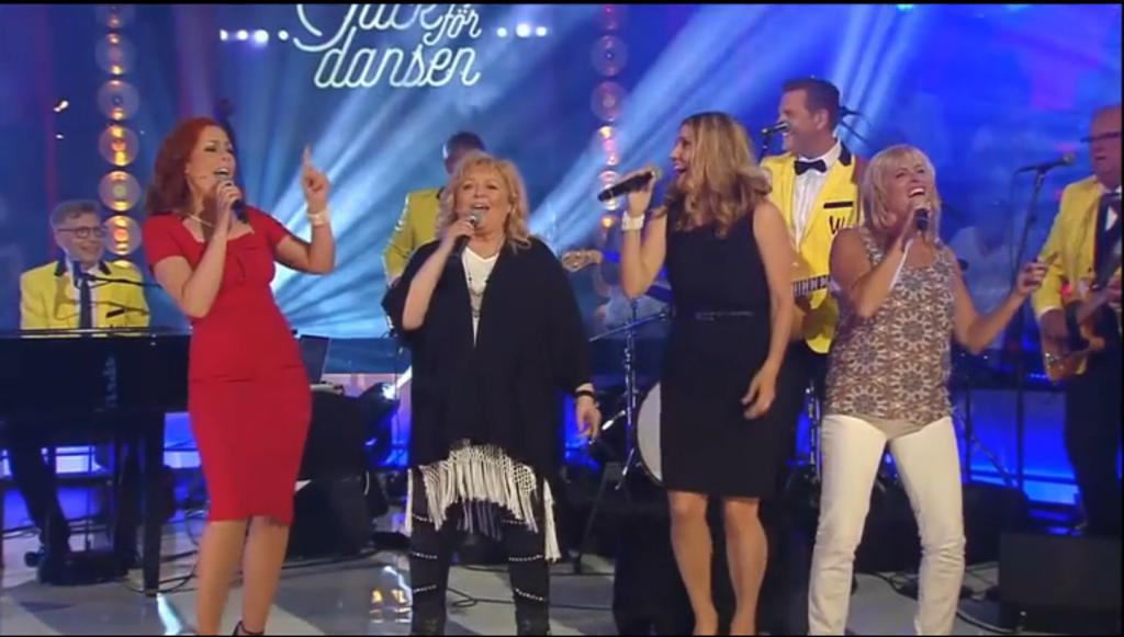 Anna Sköld, nuvarande sångerska i Wizex, och hennes föregpngare Kikki Danielsson, Kikki, Paula Pennsäter och Lena Pålsson.