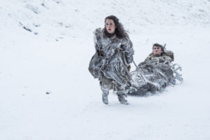 Ellie Kendrick som Meera Reed och Isaac Hempstead Wright som Bran Stark.