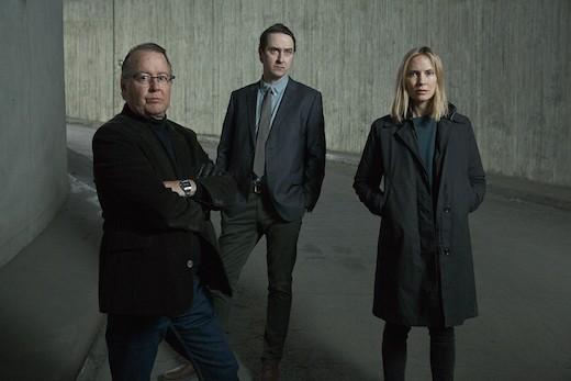 """Göran Ragnerstam, Richard Forsgren och Moa Gammel i säsong två av """"Jordskott""""."""